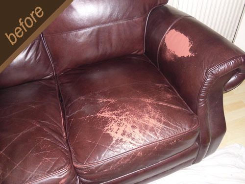 Damaged leather repaired and colour restored - before