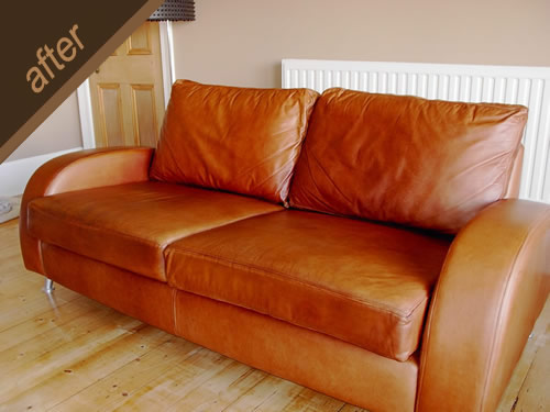 Leather sofa damaged by sunlight, treated and colour restored - after