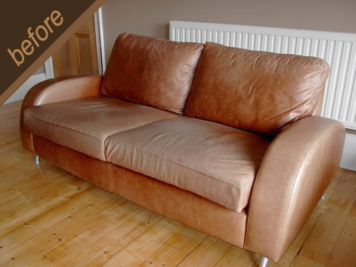 Leather sofa damaged by sunlight, treated and colour restored - before
