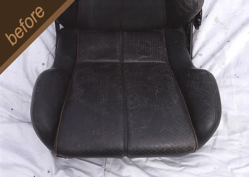 Leather car seat restoration and repair - before
