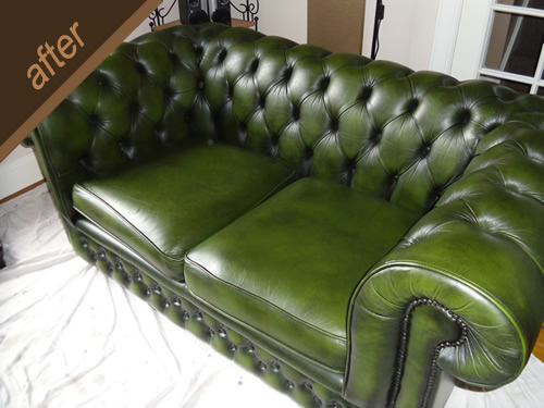 Cracked green leather sofa repaired and colour restored - after