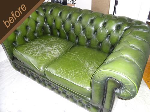 Cracked green leather sofa repaired and colour restored - before