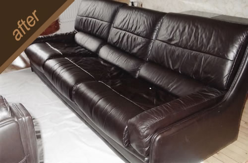 Leather furniture colour restoration - after