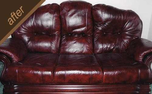 Quality antique finish and protective coating restored on this leather sofa - after