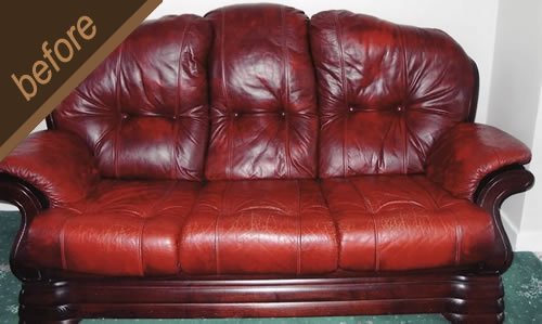 Quality antique finish and protective coating restored on this leather sofa - before