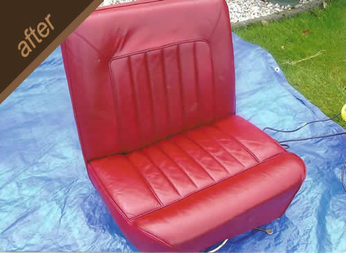Red leather car seat repair - after