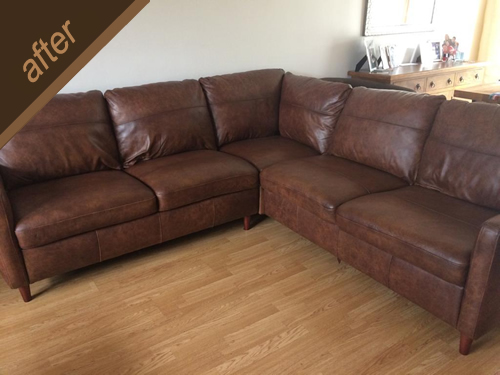 Large corner sofa : colour & top finish restored