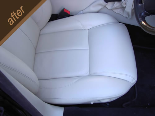 White leather car seat repair - after