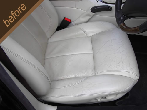 White leather car seat repair - before